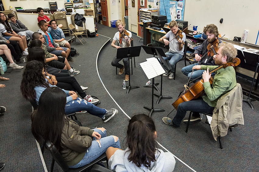UCSB Arts & Lectures - Danish String Quartet outreach 2/29/16 Santa Barbara Junior High © David Bazemore