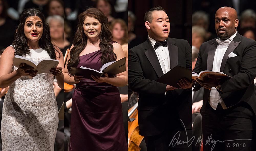 "Mezzo soprano Laurel Semerdjian, soprano Dru Daniels, tonor Christopher Yoon and bass DeAndre Simmons - Santa Barbara Choral Society ""Messiah"" 3/19/16 Hahn Hall"
