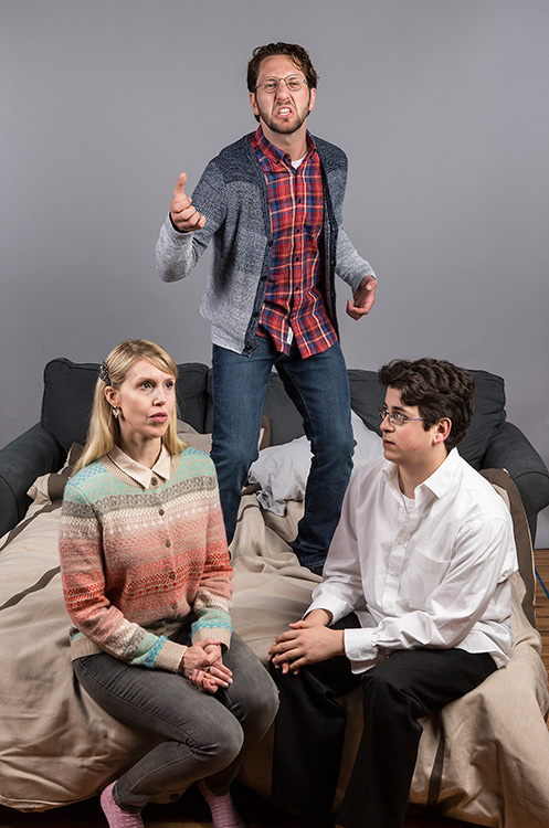 "Stephanie Burden (Melody), Adam Silver (Liam), and Cory Kahane (Jonah) - Ensemble Theatre Co. ""Bad Jews"" 4/3/16 Alhecama Theatre"