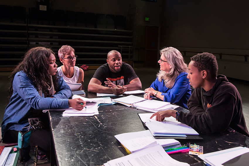 Playwright Idris Goodwin and director Risa Brainin work with UCSB Drama Department student actors 3/31/16 UCSB HSSB 1151