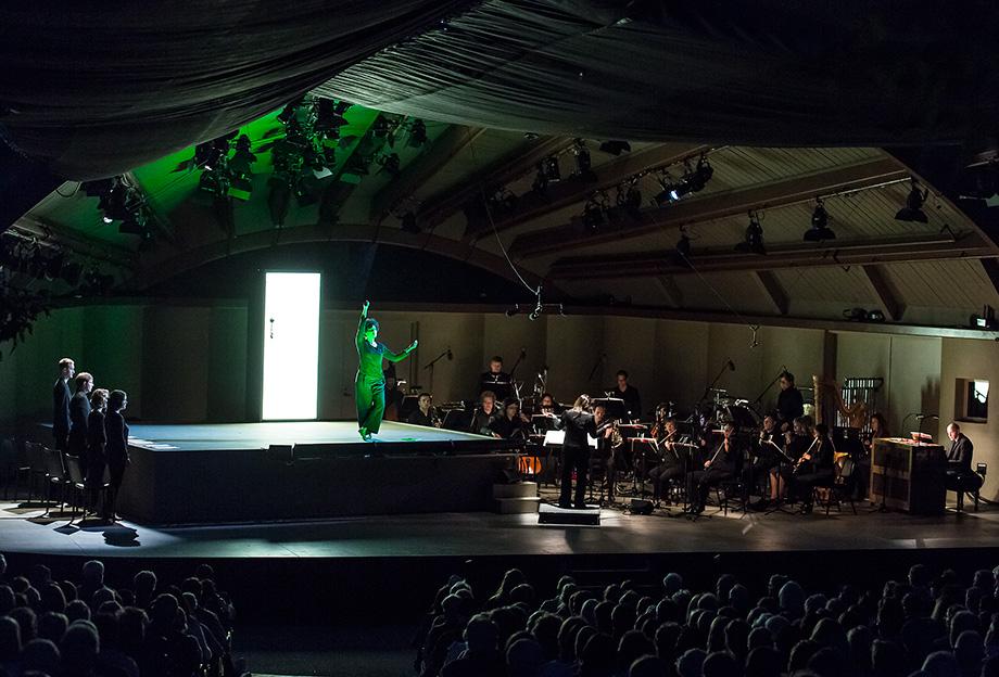 """Ojai Music Festival - Soprano Julia Bullock as Simone Weil in """"La Passion de Simone"""" - ICE, conducted by Joana Carniero 6/9/16 Libbey Bowl"""