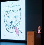 "Illustrator Maira Kalman and proposed ""New Yorker"" cover art sketch - UCSB Arts & Lectures 10/24/16 Campbell Hall"
