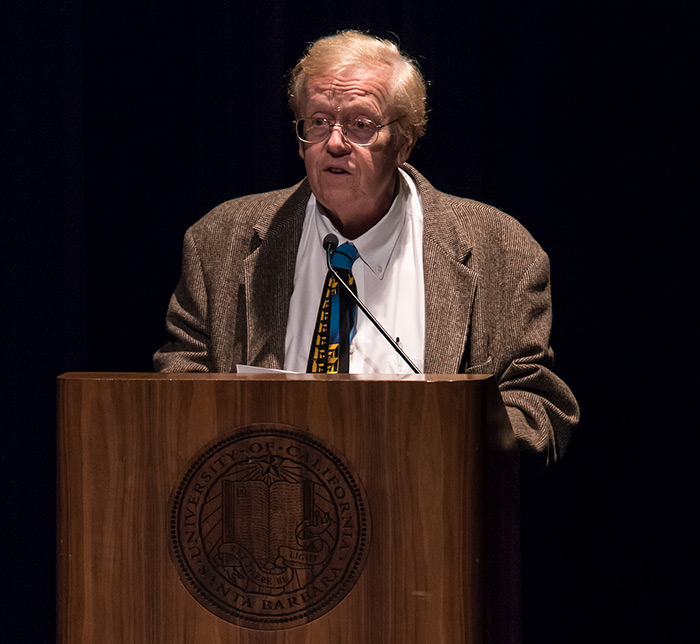 UCSB Professor John Tooby introducing the lecture 11/29/16 Campbell Hall