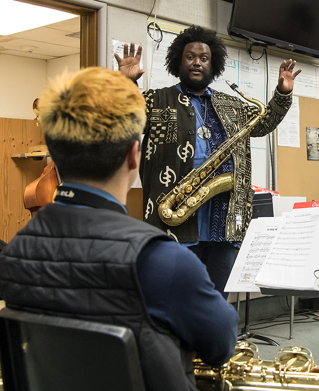Kamasi Washington Jazz clinic with students of Dos Pueblos High School - UCSB Arts & Lectures 2/16/17