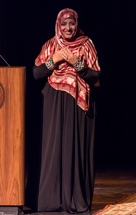 Tawakkol Karman basking in the warm welcome at UCSB Arts & Lectures 4/8/17 Campbell Hall