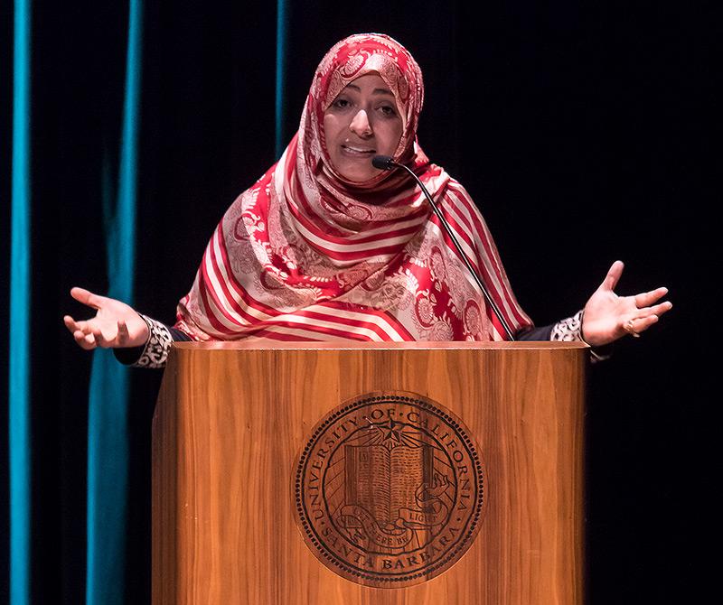 Tawakkol Karman at UCSB Arts & Lectures 4/8/17 Campbell Hall