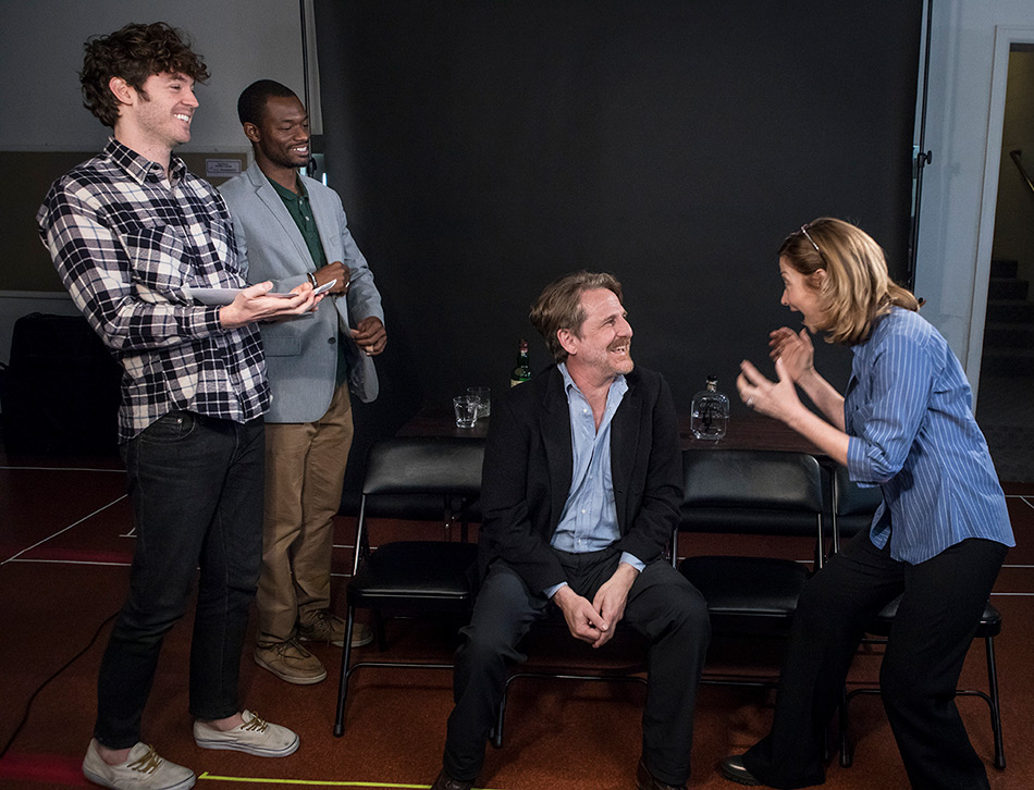 """Matthew Grondin, Timothy P. Brown, Bjørn Johnson and Sharon Lawrence - Ensemble Theatre Co. """"The City of Conversation"""" rehearsal"""
